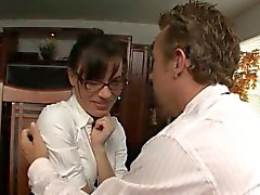 Mature client flirts with clerk