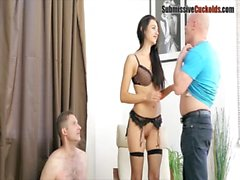 Cuckold brunette wife