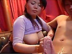 Japanese oily panty handjob
