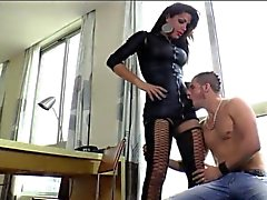 Busty shemale Aline Diniz fucks handsome dude on the bed