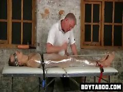Horny saran wrapped hunk getting his hard cock tugged