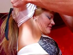 Small-titted French blonde gets banged in the ass