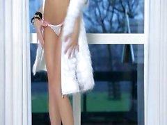 Killer brunette glamour in white heels