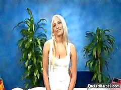 Sexy blonde babe gets horny talking