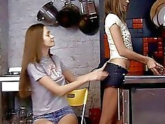 Dildo playing teen gals