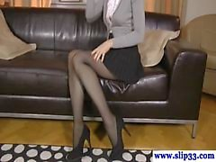 Classy euro beauty rips stockings for fuck