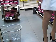 Stockings Upskirt in Shoe market 1