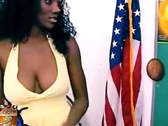 Ebony Hemmafru Squeezing Her Big Boobs