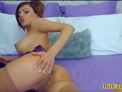 Bigtits brunette plays with dildo private cam
