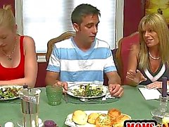 Petite teen in threesome with stepmom