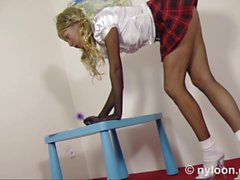 Nylon encasement schoolgirl - cum on face