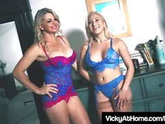 Busty Blonde Milf Vicky Vette Uses Hitachi With Cristi Ann!