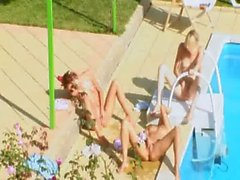 Three chicks secret fuck by the pool