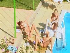 Three chicks secret fuck by the pool