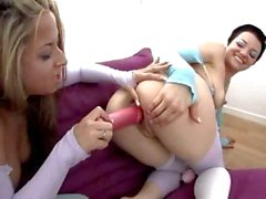 Girls In Stockings Play With Toys