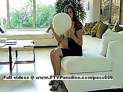 Miley busty brunette girl toying and fisting pussy
