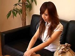 Beautiful Japanese babe changes clothes and gets sensually