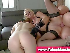 Bound hoe swallows cum in ass fucking ffm fetish trio