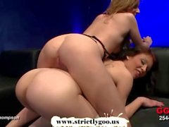 Blonde and brunette babes Sara and Annie gets fucked and jizzed together