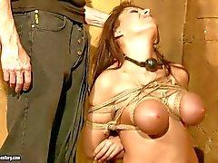 Brunette pechugón Alison estrelas fica torturado bruto em escravidão da fantasia