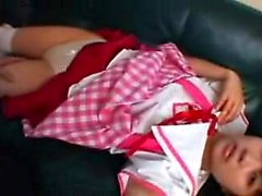 Pigtailed Asian schoolgirl reveals her honey hole and pleas