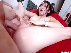 Sexy new girl Mandy Muse shoves his shlong deep in her slit