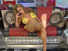 Linsey on RLC Pitcrew in yellow Heels