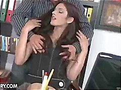 Brunette secretary Mira strips and gets pounded by the boss