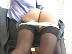 Sweet young blonde student and her lover get spanked by the mistress in the office