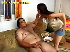 Gross fat hairy guy gets his cock sucked even when he's food fucked