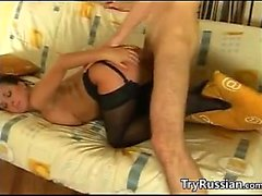 Busty Russian Wearing Stockings Gets Fucked