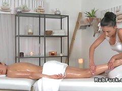 Sexy brunette lesbians getting a massage