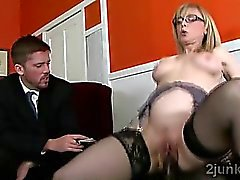 Gorgeous blonde mommy mounts sons boss in his face
