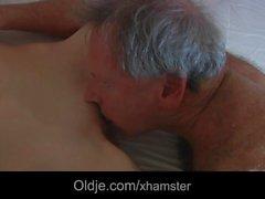 Slutty maid fucking porn addict grandpa gets mouth cumshot