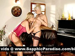 Sexy blonde lesbians kissing and licking nipples and having lesbian sex