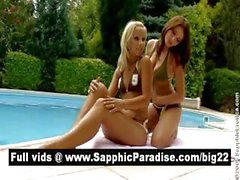 Sensual brunette and blonde lesbians kissing and licking nipples and having lesbian sex