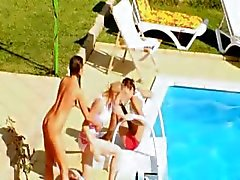 Three chicks secret coitus by the pool