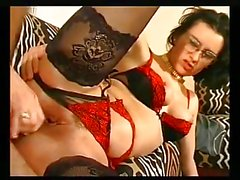 French secretary in glasses and stockings anal