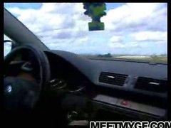 Hot babe sucking cock in a car