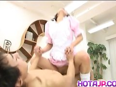 Akane Fujimoto maid with specs sucks cock and gets doggy