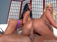 Summer Brielle and Romi Rain ride hard cock by turns