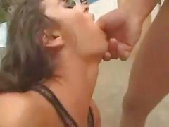Young lovely brunette chick loves eating dick and being double penetrated