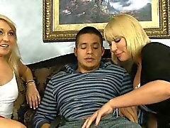 Busty blonde Mom got fucked first before her teen daughter