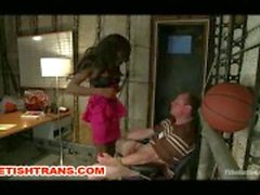 TS Bambi Seduces A Coach In His Office