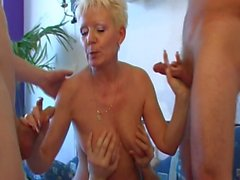 Granny and Many Young Cocks Gangbanging Her