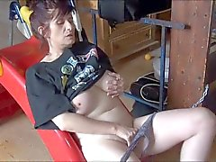 hot old horny oma stairway masturbation