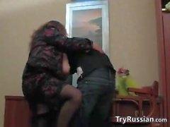 Fett Ältere russischen in ein Büro