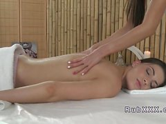 Slippery Euro nuru lesbian pussy massage