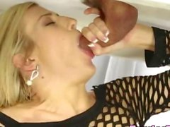 Cock sucking blonde drools on a clients dick