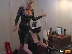 mistress with her latex maid slave bondage